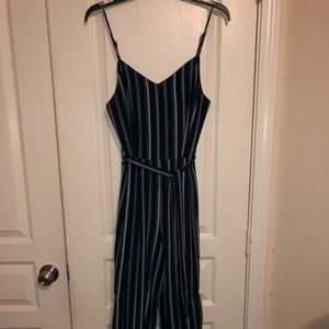 Navy Blue & White Pinstripe Jumpsuit